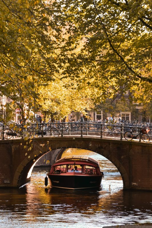 Positive Travel Guide - Amsterdam Autumn Canal Boat