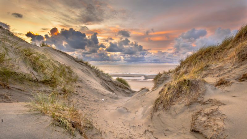 Positive Travel Holland Guide Sunset View on North Sea and Canal fom dunes in Zeeland, Netherlands