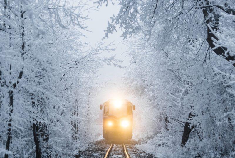 Positive Travel Guide California Train in Snow