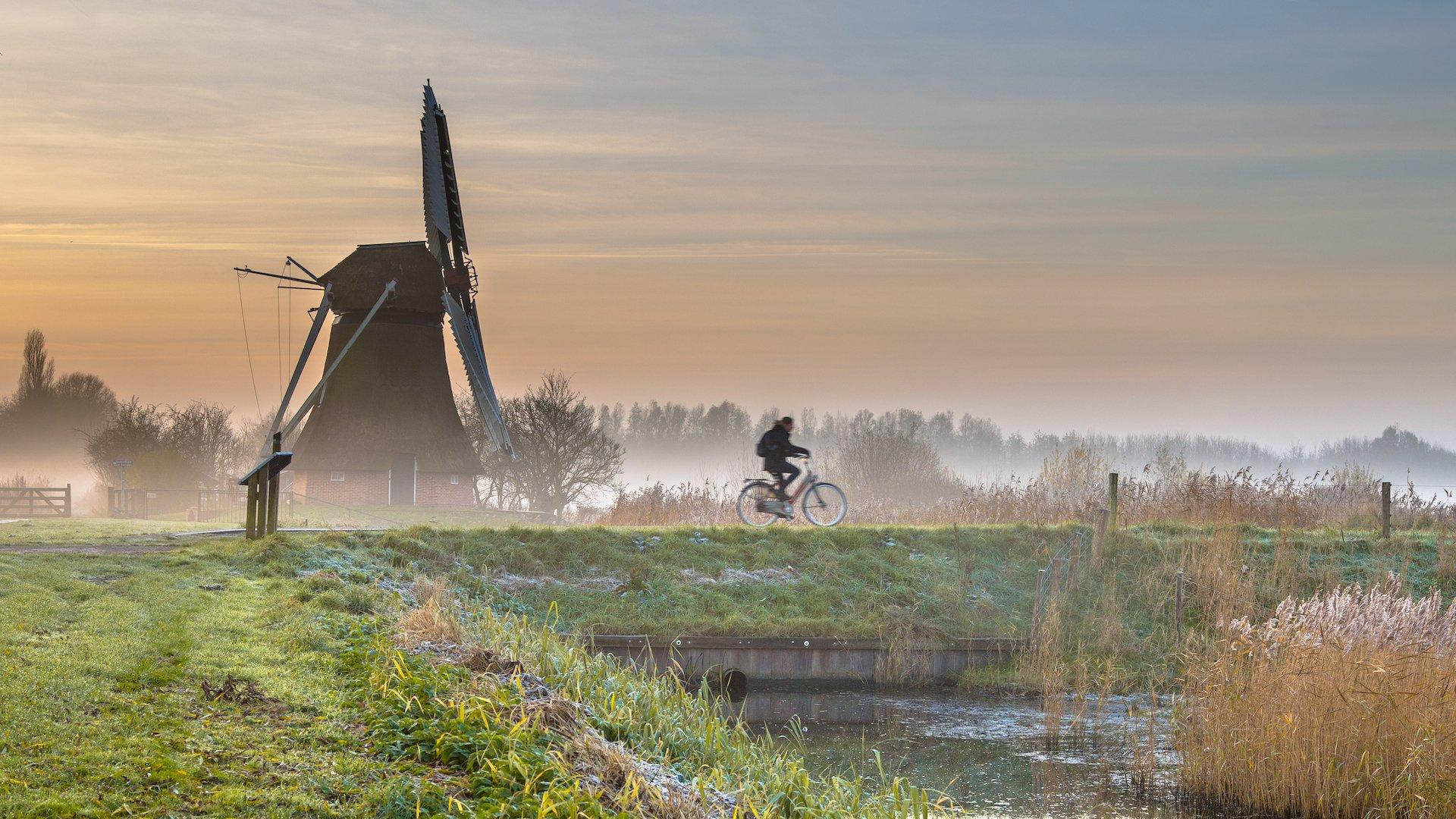 cyclist in early morning landscape PDYV2AV