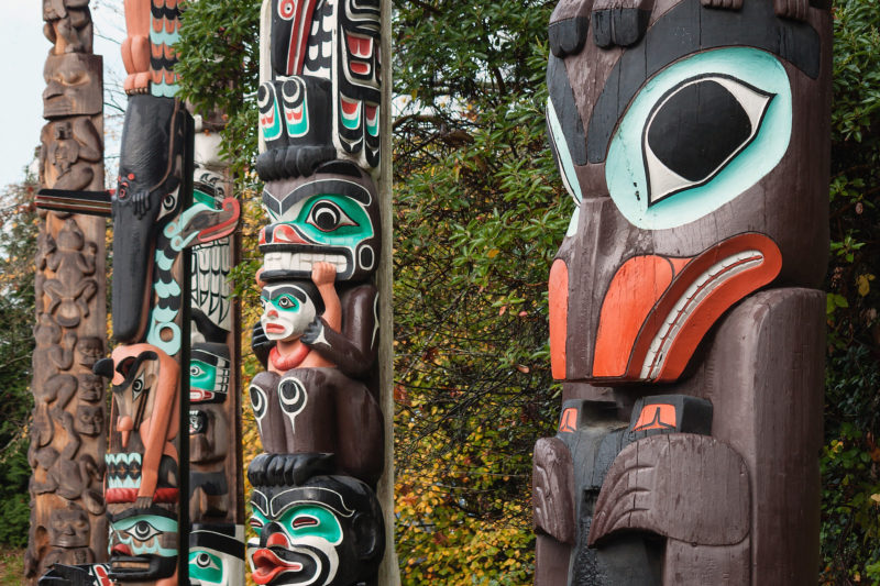 Colorful First Nations Totem Poles, Vancouver, BC, Canada