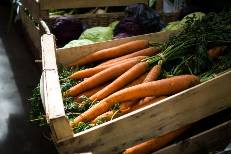 Positive travel guide BC Fresh carrots on farmers market
