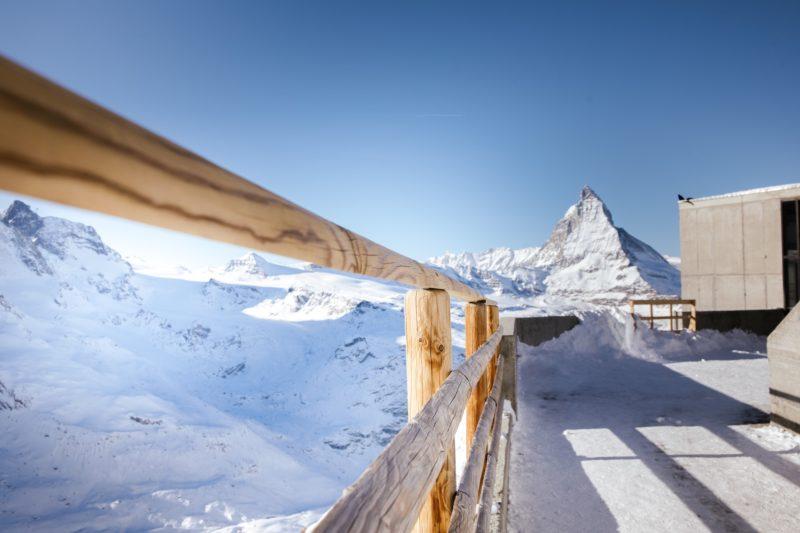Positive Travel Best Sustainable Ski Resorts in Switzerland Zermatt Matterhorn view on a sunny day