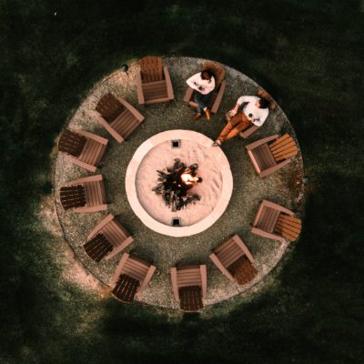 Positive Travel 12 +principles represented by two people and twelve chairs around a fire